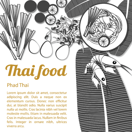 Thai delicious and famous food fried noodle stick with shrimp pad thai with isolated white background and ingredient,black and white gray scale style,vector illustration