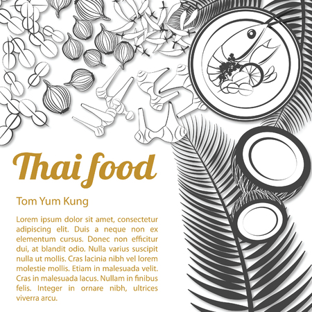 Thai delicious and famous food.river prawn spicy soup tom tum kung and ingredient with isolated white background,black and white gray scale style,vector illustration