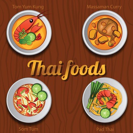 Four Thai delicious and famous food.river prawn spicy soup or Tom Yum Kung,papaya salad or Som Tam,fried noodle stick with shrimp or Phad Thai, Chicken Curry,vector illustration Illustration