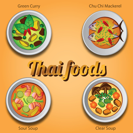 Four Thai delicious and famous food.green curry khiao whan,curry fried mackerel chu chi pla tu,sour soup kaeng som with shrimp, clear soup vector illustration Illustration