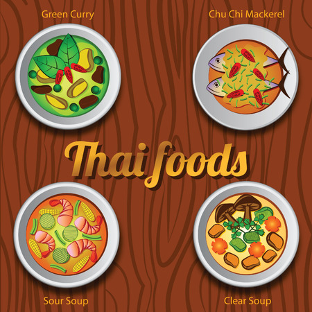 Four Thai delicious and famous food.green curry,curry fried mackerel,sour soup, clear soup,vector illustration,wooden background