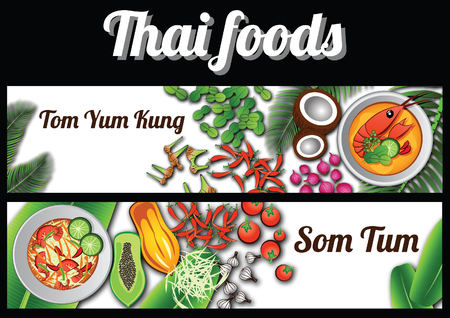 two Thai delicious and famous food banner.river prawn spicy soup Tom tum Kung,papaya salad Som tam and ingredient with white background,vector illustration