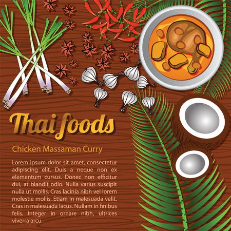 Thai delicious and famous food Chicken Curry Massaman with wooden background and ingredient,vector illustration