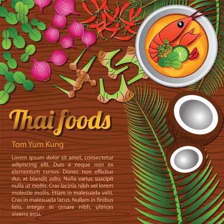 Thai delicious and famous food.river prawn spicy soup Tom yum kung and ingredient with wooden background,vector illustration