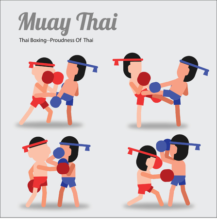 Muay Thai,Thai Boxing,fighting art of Thai,in cartoon acting pose version. suitable for Asia and Thai art design,vector illustration Illustration