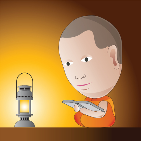 little monk is learning Dharma in a night by oil lamp,to be guru and to be a wisdom in Dharma,vector illustration in cartoon design Иллюстрация