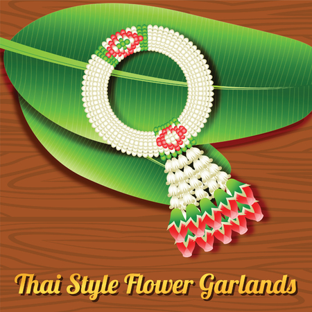Thai style flower garland,a respect object indication to older person or buddha in special time in cute style,vector illustration