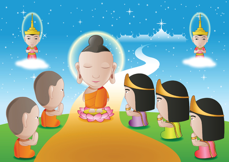 alms: lord of buddha walk down from heaven that for visit and teach his mom in dharma,The begin of tak bat thewo and The End of Buddhist Lent Day.surround by angel monk and buddhist,vector illustration Illustration