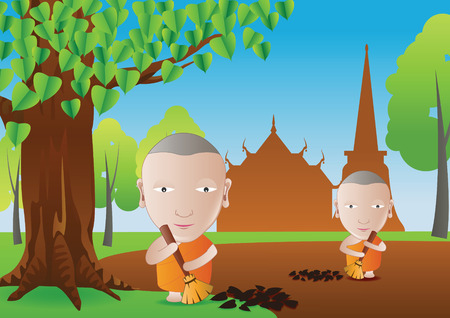 monk keep cleaning leaves in temple area a routine of Buddhism monk in cartoon bubble head style,vector illustration Illustration