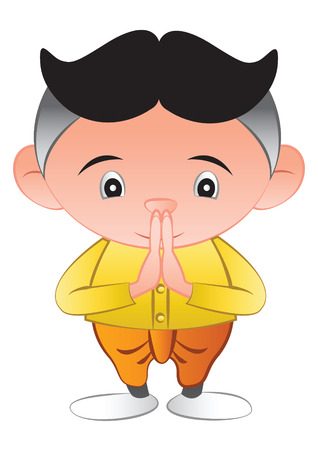thai bubble head is greeting in called sawasdee,in cartoon design and thai dress,vector illustration