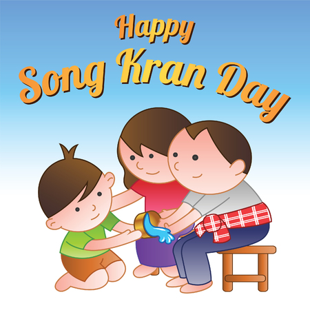a boy is pouring water to adult hands on Songkran or Water festival day,a famous day in April and also be Thai new year,to honor,in cartoon version,vector illustration