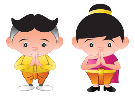thai bubble head boy and girl is greeting in called sawasdee,in cartoon design and thai dress,vector illustration