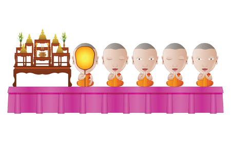 monk praying in religious ceremony in cartoon vector illustration
