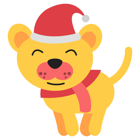 dog santa claus smile happily ,show time of christmas and new year and birthday,big head and flat style,vector illustration