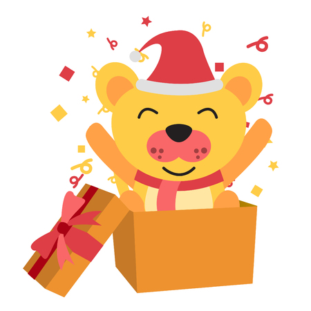 dog santa claus raise two leg happily and stand in gift box ,show time of christmas and new year and birthday,big head and flat style,vector illustration Illustration