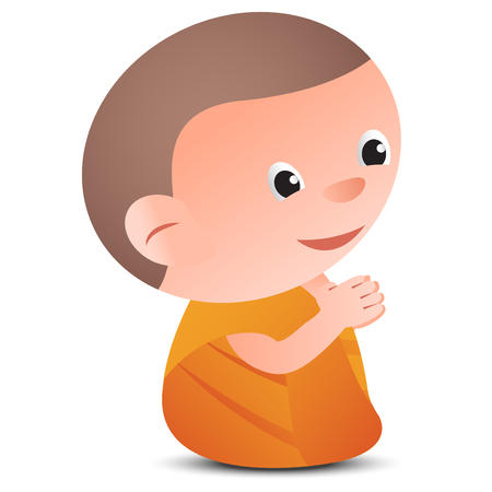 big head cartoon monk pay respect in sit pose,for part of buddhism image of related item Illustration
