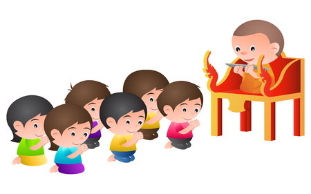 monk sit on a pulpit in the form of an elaborately carved seat,to teach Dharma to buddhist in buddhism day ,isolated big head cartoon version,vector illustration