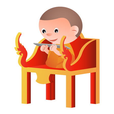 monk sit on a pulpit in the form of an elaborately carved seat,to teach Dharma,isolated big head cartoon version,vector illustration