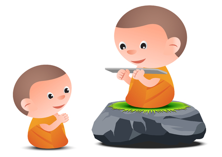 Old monk teaches Dharma to little monk while sitting on big stone, to generate Buddhism, vector illustration Ilustração