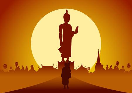 스님은 시골과 숲에서 공덕을 만들기 위해 성전 순례 여행을 떠나십시오. 평화 침묵과 일몰에 법 법에 대 한 부처님의 이미지 뒤에 큰 태양 포즈 장면  일러스트