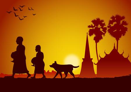 offrir de la nourriture à un moine ou demander comme une faveur recevoir de la nourriture ou demander l'aumône, la routine du moine, illustration vectorielle