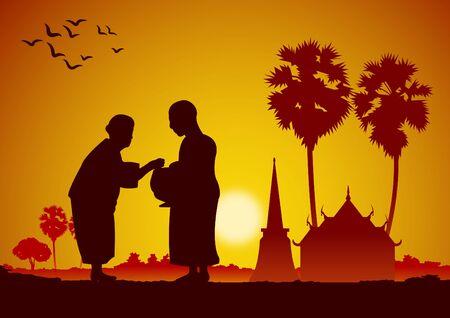 bouddhiste donner une offrande à un moine ou demander une faveur recevoir de la nourriture ou demander l'aumône, routine du moine, illustration vectorielle