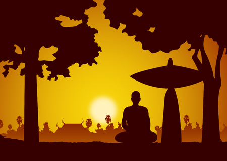 monk meditation sit on pilgrimage or travel or wayfaring face to sunset to find peace and happiness,vector illustration