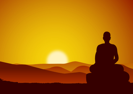 monk meditation sit on mountain face to mountain while sun at horizontal line and valley,vector illustration