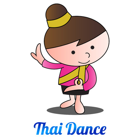 thai bubble head girl is dancing,in cartoon design and thai dress,vector illustration