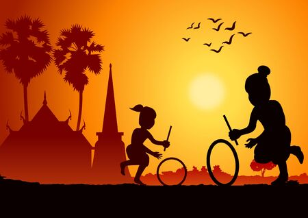 sunset landscape and country life with Thai children play game,hit wheel rolling around with nature and temple.countryside of eastern lifestyle.vector illustration