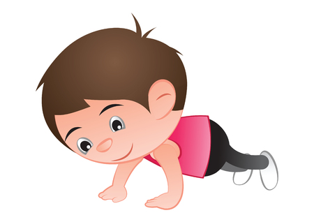 Bubble big head cartoon push up for healthy and good shape,exercise,vector illustration  イラスト・ベクター素材