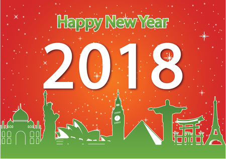 Happy new year around the world landmark, happiness celebration,red and green style,silhouette,vector illustration