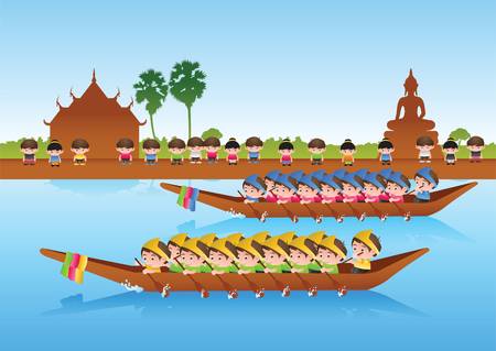 long boat race,colorful cartoon style,sport and festival of Asian,around with nature and country style,vector illustration
