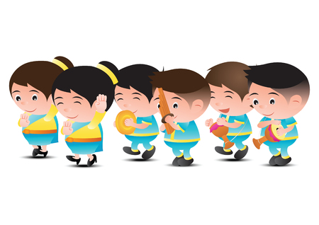 Thai music band dancer,tom tom,reed and organ. For festival and ceremony,big bubble head cartoon design,isolated, vector illustration.