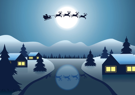 Santa Claus and reindeer fly over the village near river around with hill Christmas tree on night to send gift to everyone,vector illustration