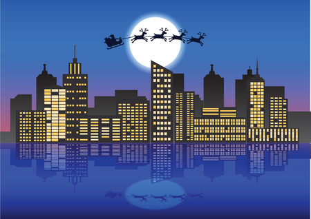 Santa Claus and reindeer fly over the city at the night with lot of skyscraper and light of window,to send gift for people,vector illustration Illustration