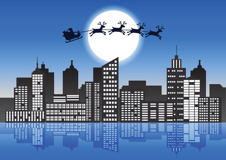 Santa Claus and reindeer fly over the city to send gift to people,lots of skyscraper and light form window,vector illustration