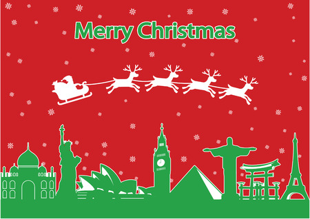 Santa Claus and reindeer fly around the world landmark, to send gift to people,lots of ,red and green style,silhouette,vector illustration