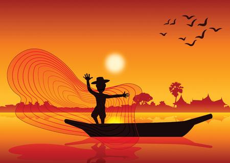 田舎の生活、男は池の湖、シルエットスタイル、日没時、ベクトルイラストでボートに魚をキャッチするために魚網を投げる。