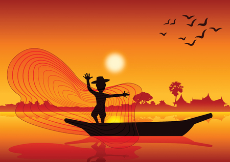 Country life, man throw fish net to catch fish on boat in pond lake,silhouette style,on sunset time,vector illustration.