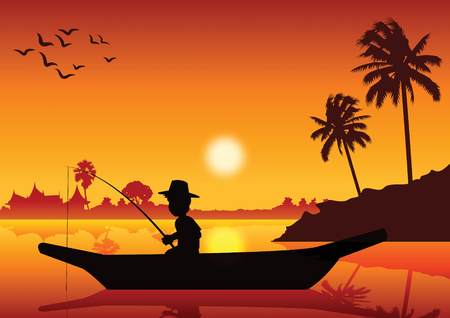Boy fishing on boat in river pond to catch fish,around with nature of country life,vector illustration. Stock Illustratie