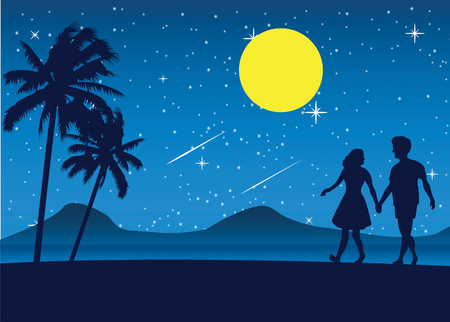 Couple walking on the beach at nigh illustration. Vectores
