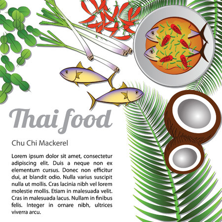 Thai delicious and famous food mackerel with isolated white background ingredient,vector illustration.