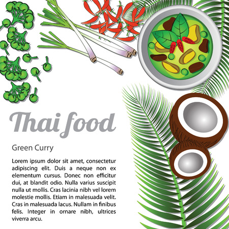 Thai delicious and famous food Green Curry with isolated white background ingredient, vector illustration.