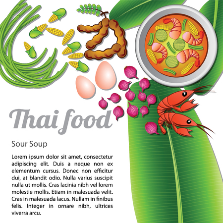 Thai delicious and famous food green curry with ingredients isolated on white background. Stock Illustratie