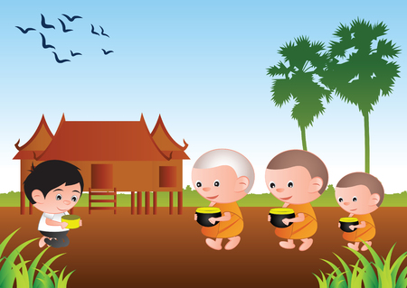 Boy accepting food offering from monks or ask as a favor receive food or ask for alms, routine of monk,vector illustration.