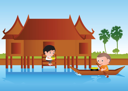 Big bubble head man cartoon give food to monk on boat,around with rural life style nature scene,colorful vector illustration. Illustration
