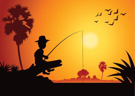 Garçon de pêche au bord de la rivière pour attraper des poissons, autour de la vie rurale de pays, style de silhouette, illustration vectorielle.