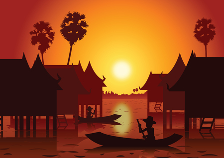 Sunset landscape and rural water village