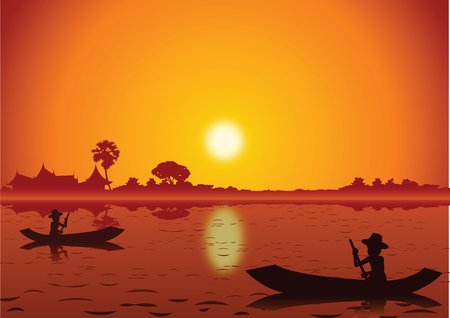 Sunset landscape and with a rowing boat Illustration